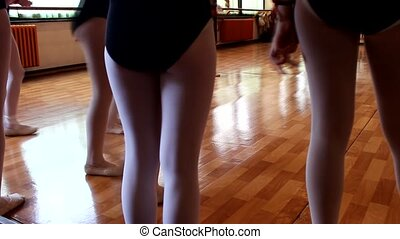 modern ballet little girls exercise held