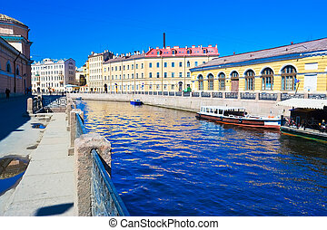 Canal in Saint Petersburg - Blue water of a canal in Saint...