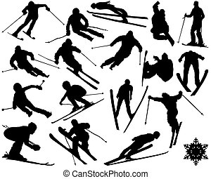skiing - Black silhouettes of skiing , vector illustration