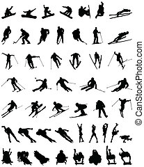 winter sport - Set of winter sport silhouettes, vector