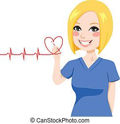 enfermeira, desenho, Coração
