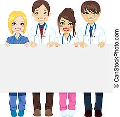médico, grupo, cartelera