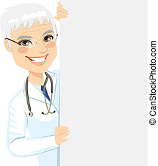 Senior Doctor Peeking - Happy smiling professional senior...