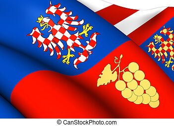 Flag of South Moravian Region, Czech Republic. Close Up.