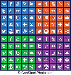 Social media icons - Vector set of 25 flat social media...