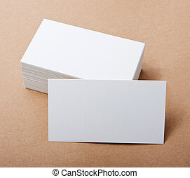 blank business cards on crafts background, identity design,...