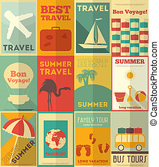 Flat Travel Posters Set - Travel Posters Set - Vacation...