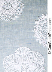 Wite lace napkin, Christmas decorations background for...