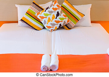 bed with pillows