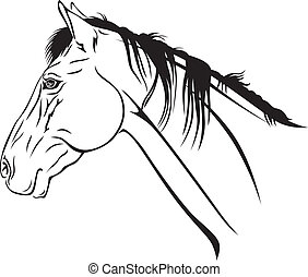 Horses head - Contour image of a beautiful horses muzzle