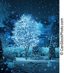 kleingarten,  Winter, baum, Schneefall, fantasie, Erleuchtet