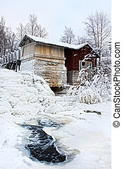 Old water mill winter scenery
