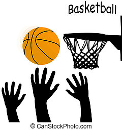 Silhouettes of hands and ball on white background, vector...
