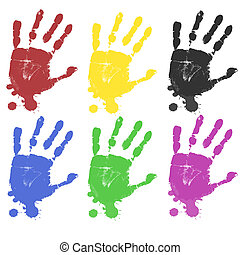 Multicoloured hand prints isolated on white background,...