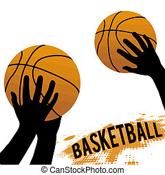 Hands and basketball isolated on white, vector illustration