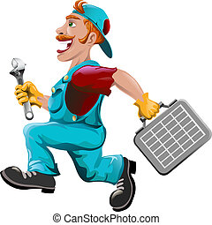 The hurrying plumber - Funny illustration with plumber...