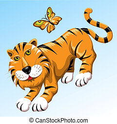 Tiger and butterfly - Funny illustration with tiger and...