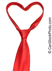 Valentine necktie - Red necktie shape of heart isolated on...