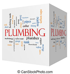 Plumbing 3D cube Word Cloud Concept