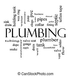 Plumbing Word Cloud Concept in black and white