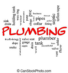 Plumbing Word Cloud Concept in red caps
