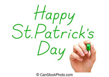 Happy Saint Patricks Day Green Marker - Hand writing Happy...