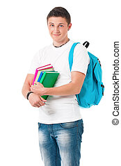 Student boy - Young happy student carrying books on white...