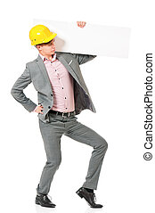 Man in hard hat - Young foreman in hard hat with blank...