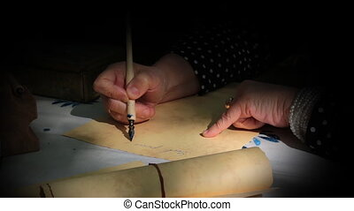 Writing a letter with dip pen - Vintage scene with spotlight...