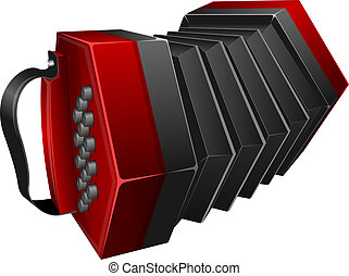 Red concertina - Vector illustration red concertina isolated...