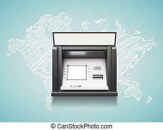 atm machine with blank display, trawel concept