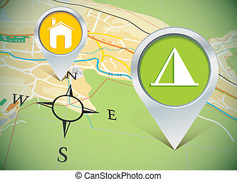 map with pins - vector illustration