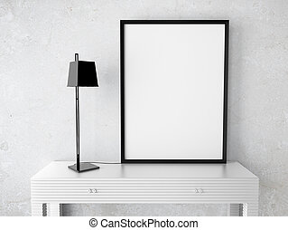 blank  frame - interior with blank  frame on table