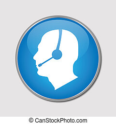 Phone Support Button, Vector Illustration - Image of a phone...