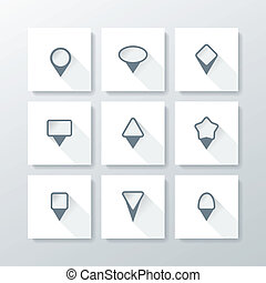 Vector flat icon set - map pins
