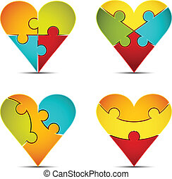 Puzzle - Vector illustration of heart suit icons made of...