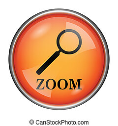 Zoom with loupe icon - Round glossy icon with black design...