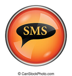 SMS bubble icon - Round glossy icon with black design on...