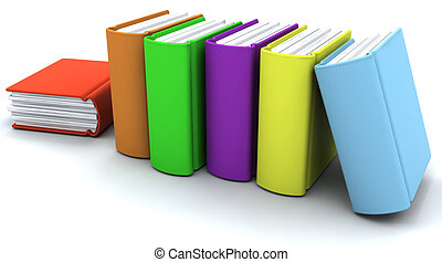 Caricature of a stack of books - 3d caricature render of a...