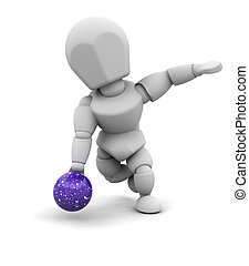 man ten pin bowling - 3d render of a man ten pin bowling