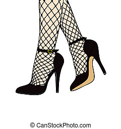 Black High Heels with fishnet stockings - Red High Heels...