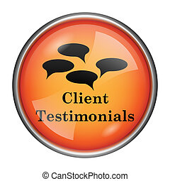 Client testimonials icon - Round glossy icon with black...