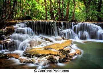 Level six of Huai Mae Kamin Waterfall in Kanchanaburi...