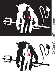 Devil and Man Silhouette - Vector Design of Devil and Man...
