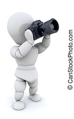 Man using camera - 3D render of a man using a camera with a...