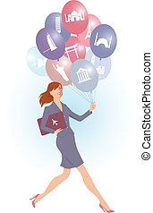 Travel Agent - Young energetic woman carrying balloons with...
