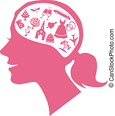 Mind of a bride - Pink female profile filled with assorted...