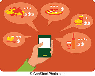 Mobile search for restaurants - Hand with a mobile device...