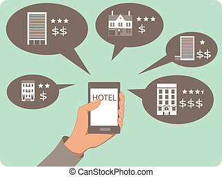 Mobile search for hotels - Hand with a mobile device and...
