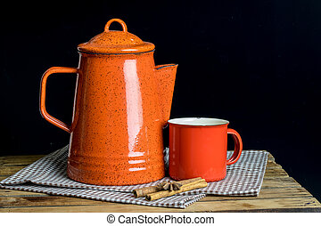 Tea pot on table - Still life, red tea pot set and cinamon...